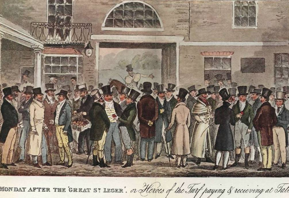 Fig. 5. A scene at Tattersall's horse auction mart, by Robert Cruikshank. In C. M. Westmacott's The English Spy, vol. 1 (1825)